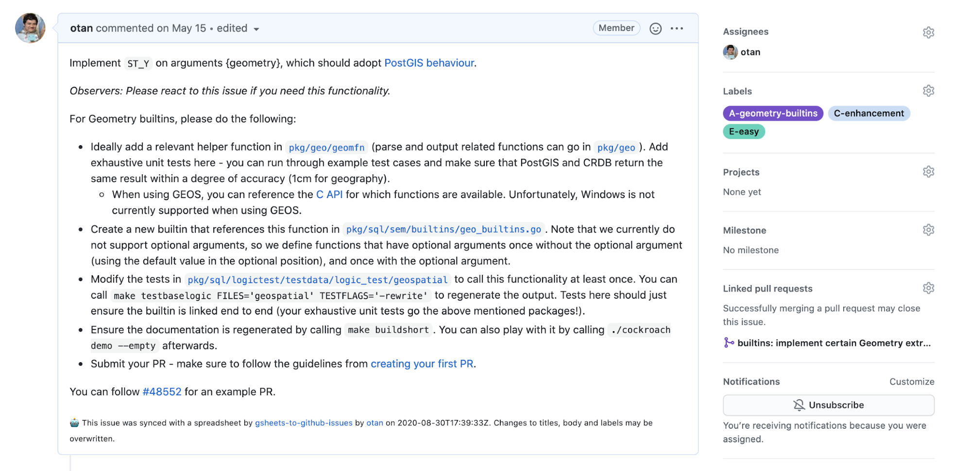 Google docs to GitHub issues example