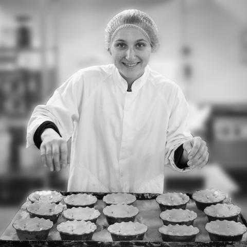Team member Roo with pies