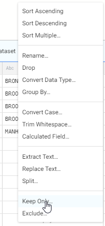 Selecting Keep Only for the column