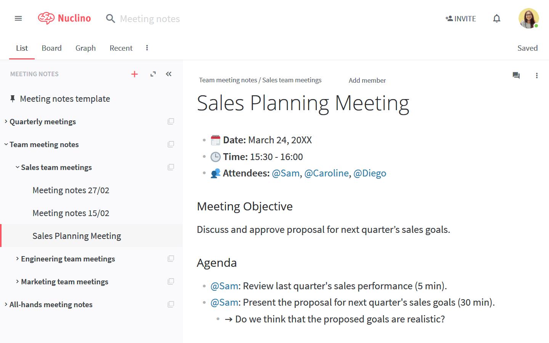Team meeting agenda in Nuclino