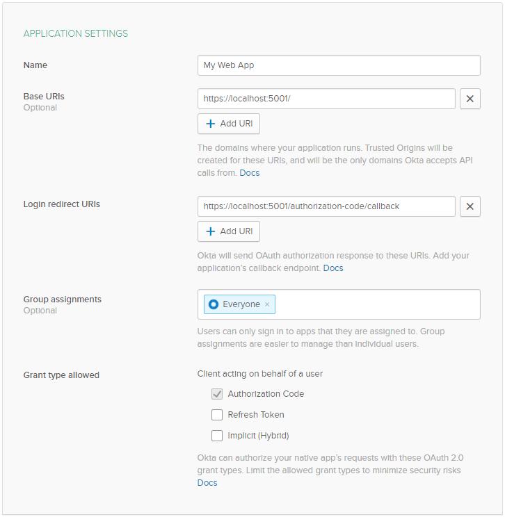 Okta Application Settings