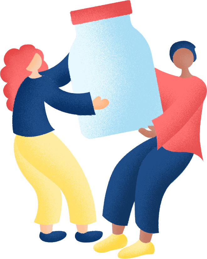 Illustration of two women with a container of pills