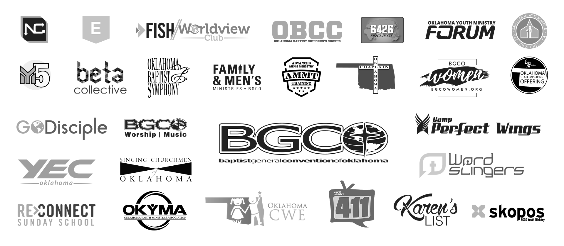 A collection of many previous Oklahoma Baptists logos