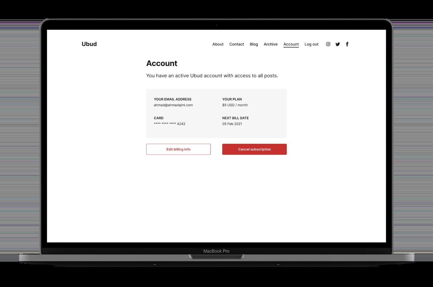 ubud Account Page