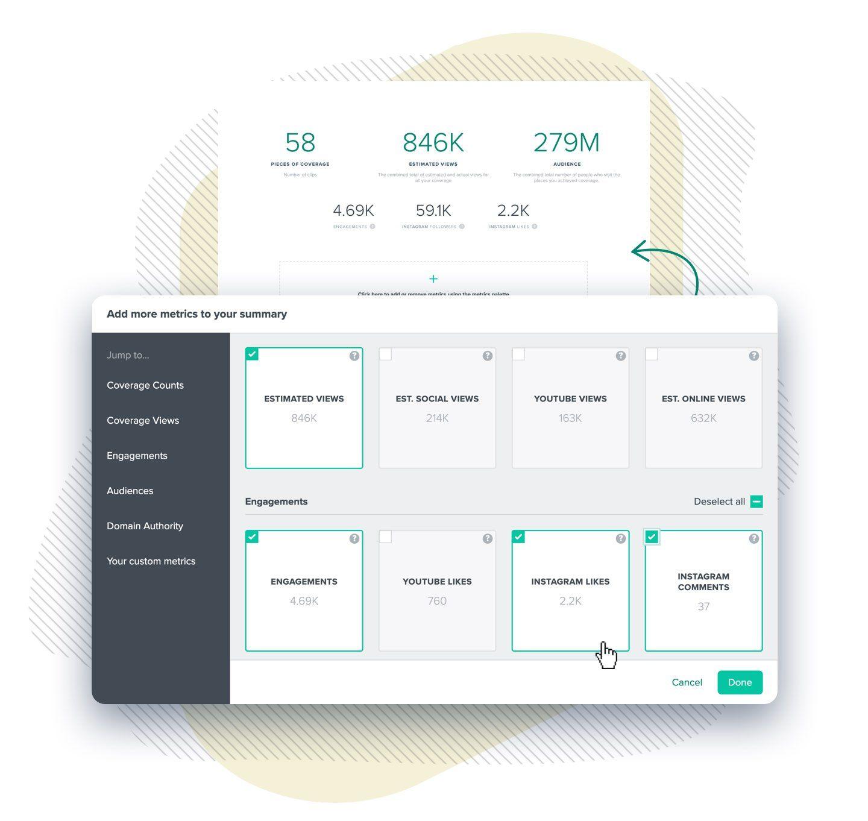 choosing report metrics to add to the summary