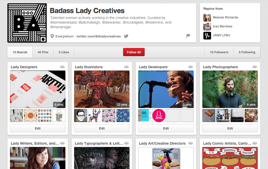 The Badass Lady Creatives project on Pinterest, with boards highlighting creative women