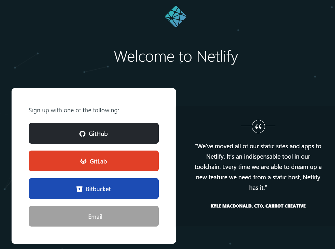 Sign Up For a Netlify Account