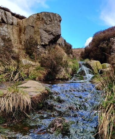Ilkley Moor stream and blue sky