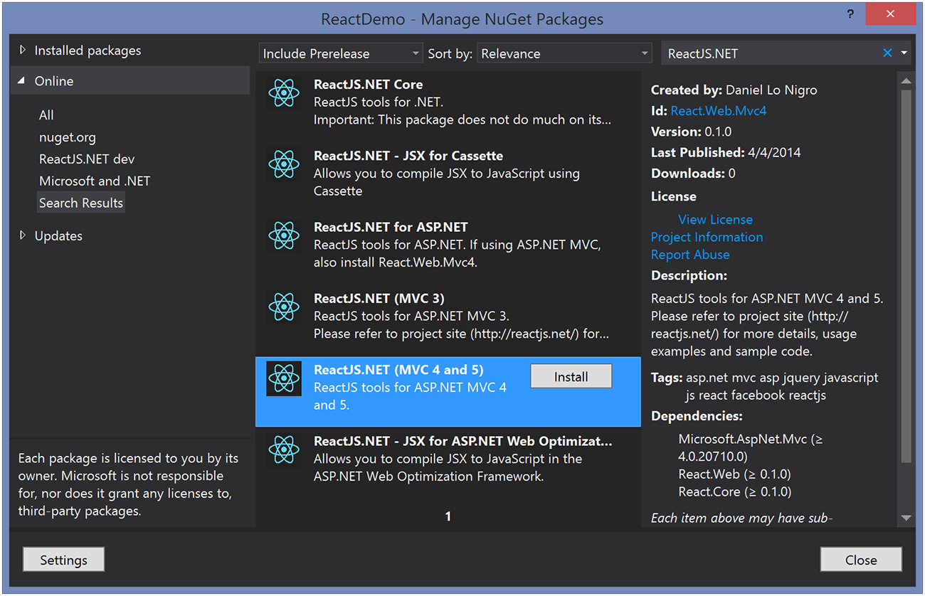 Screenshot: Install NuGet Packages