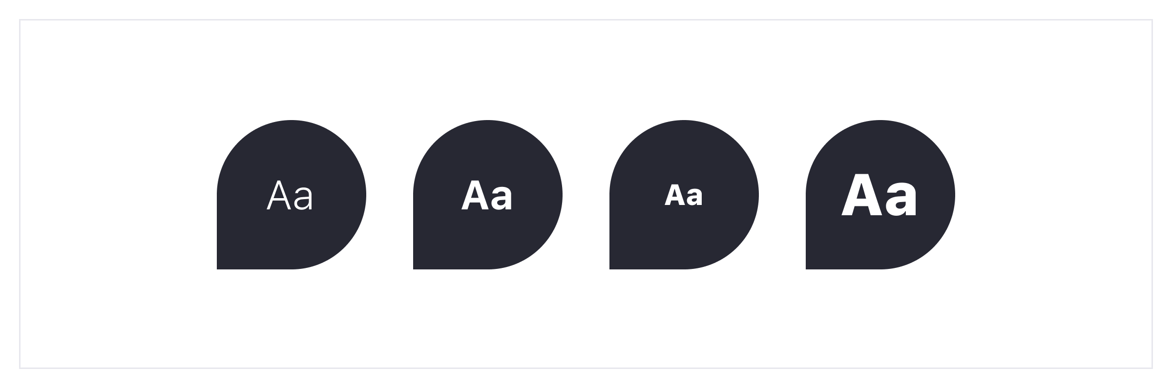 4 shapes with text inside used as examples of different text styles