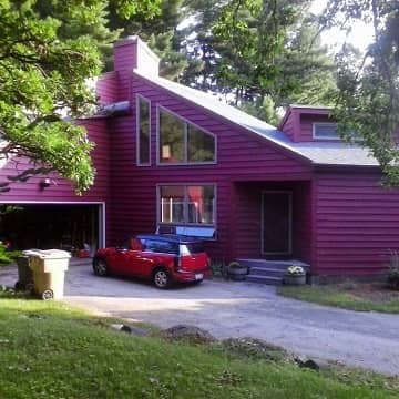 newly painted red and purple color home