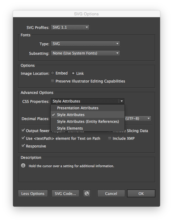 Adobe Illustrator Inline Styles