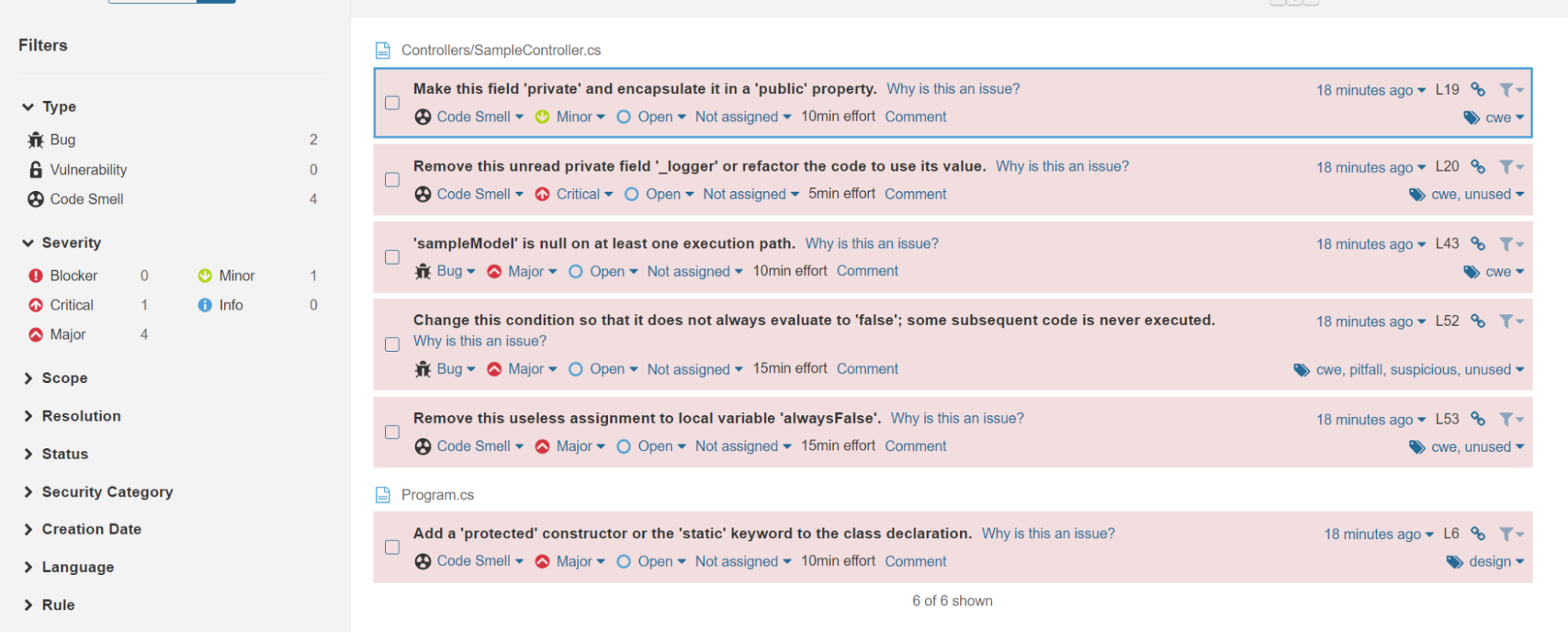 Screenshot of Listed Issues In Source Code