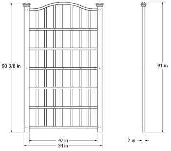 Grande Trellis wireframe dimensions