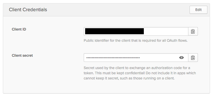 Client credentials screenshot