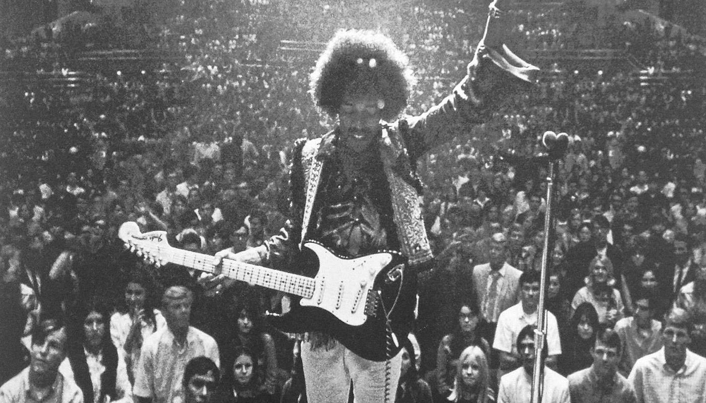 Jimi Hendrix performing in Bakersfield, CA circa 1968.