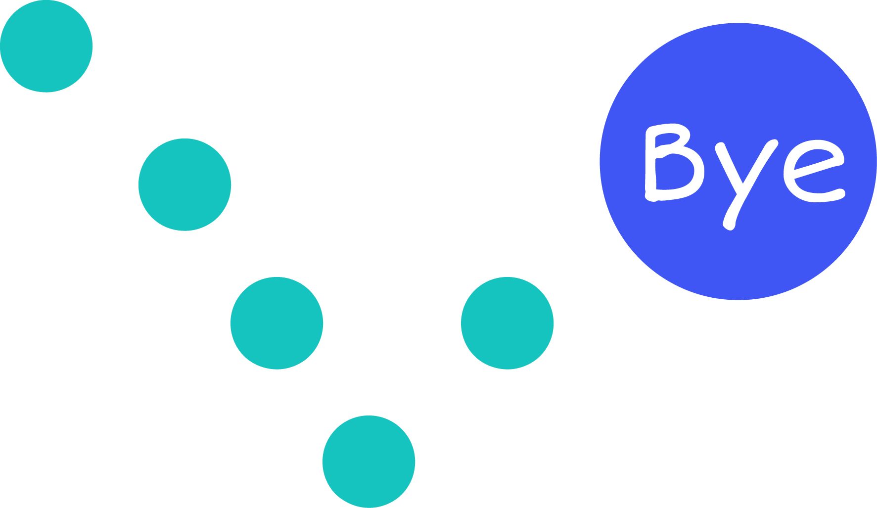 Bouncing dot bye illustration
