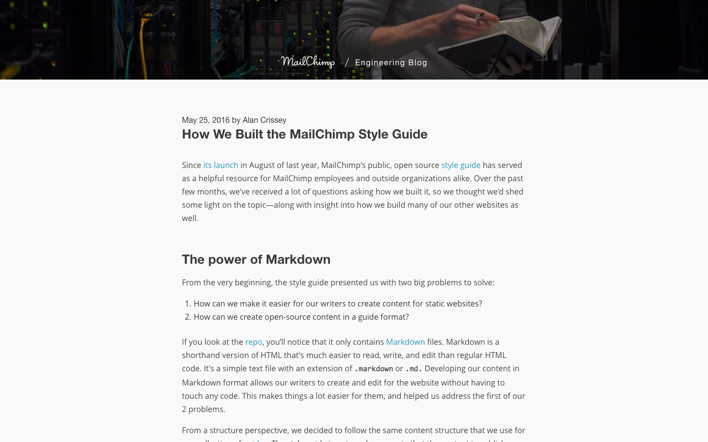 How we built our styleguide - Mailchimp