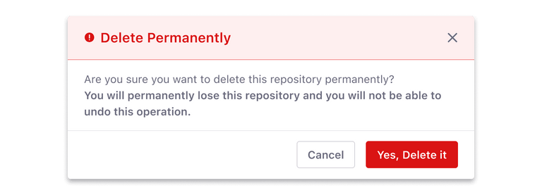 modal for status message with action-based color button and a secondary button Do