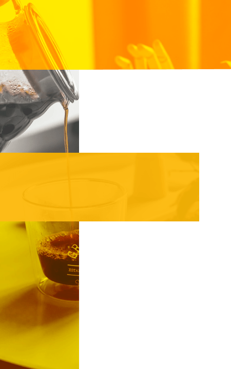 F with images of coffee brewing