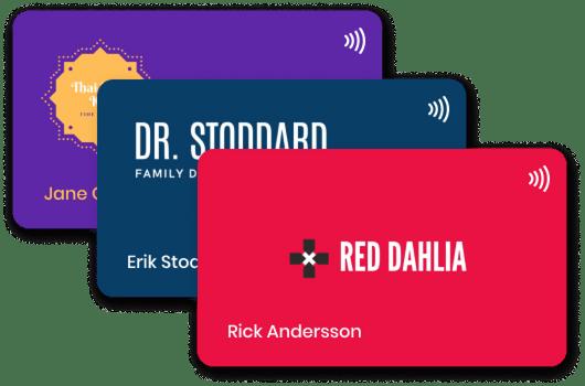 Custom design card, red, black, blue