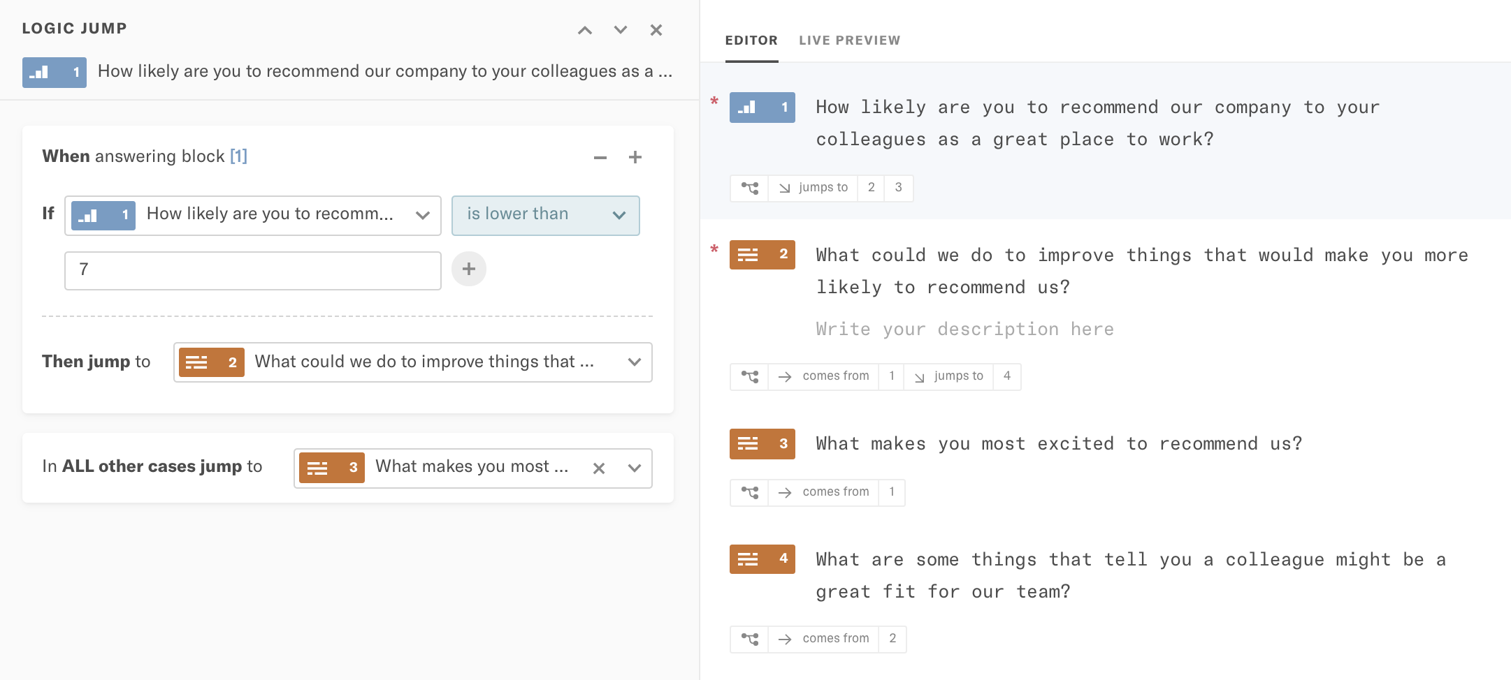 Screenshot of skip logic with TypeForm.