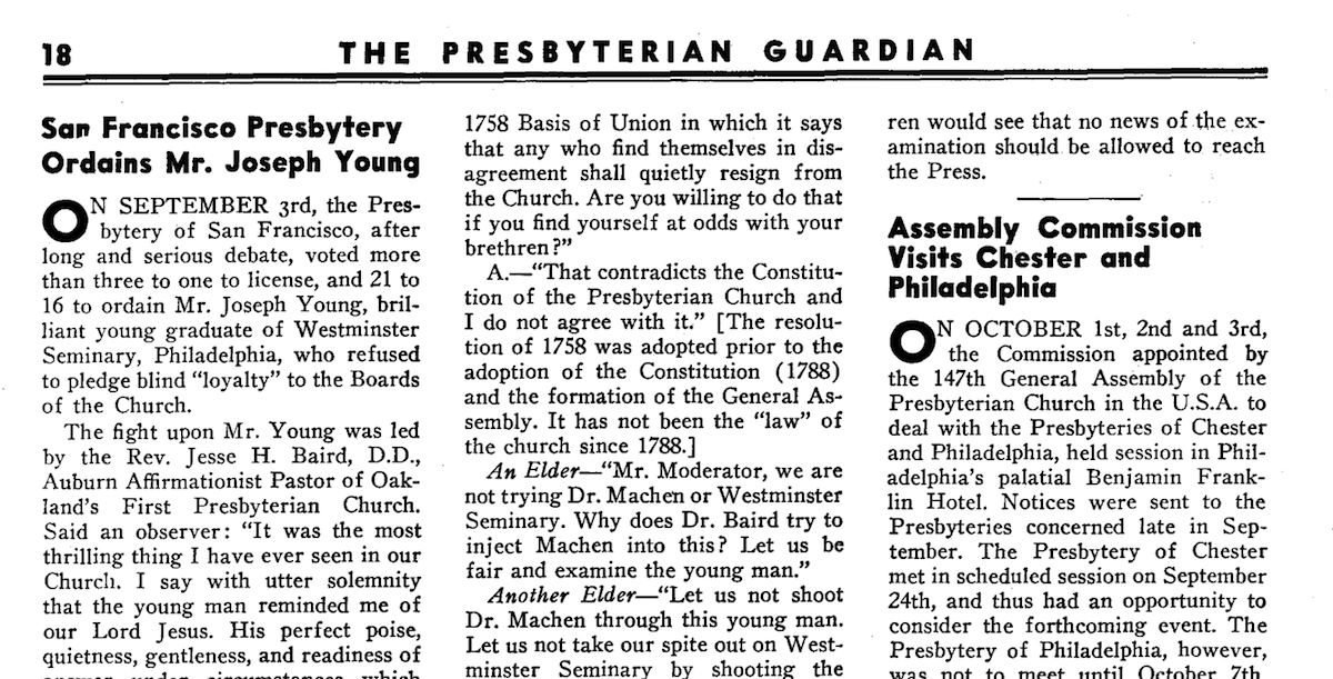 1935 article from The Presbyterian Guardian on the ordination of E.J. Young into the PCUSA