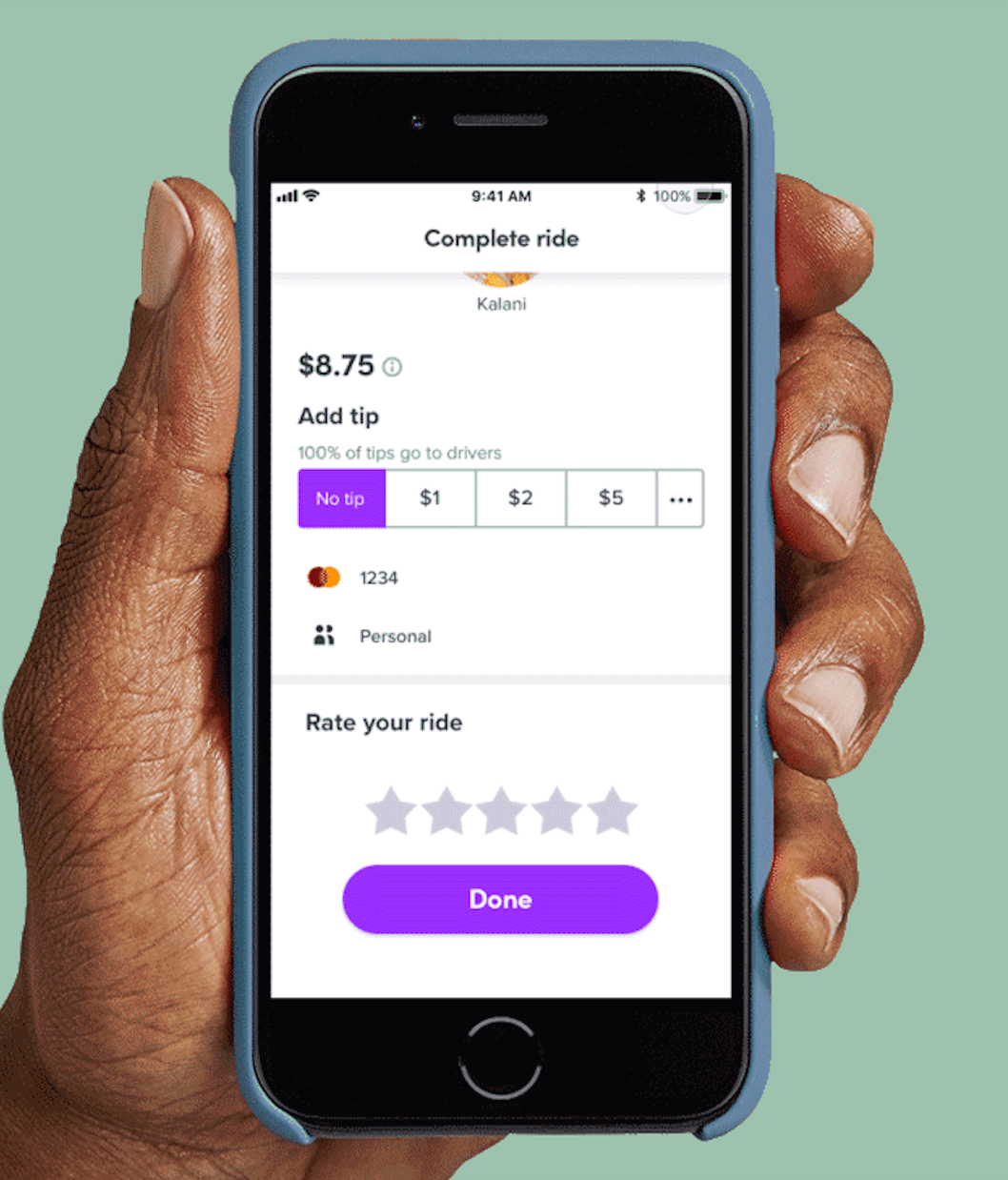 Customer service feedback survey from Lyft once users have completed a ride.