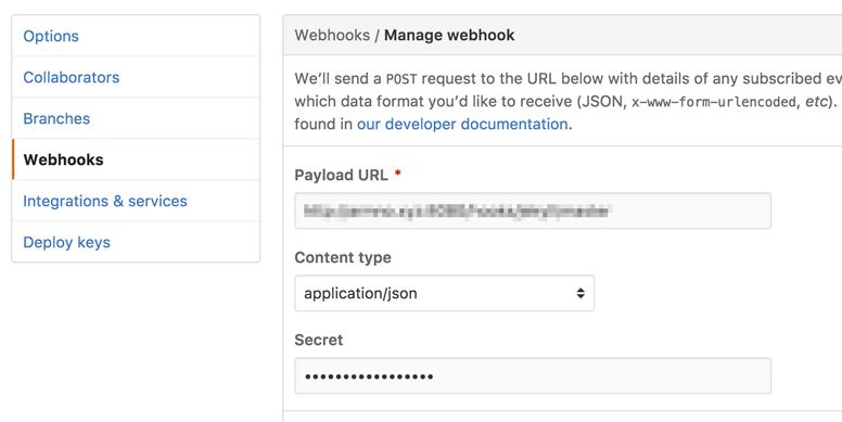 Webhooks settings ของ repo