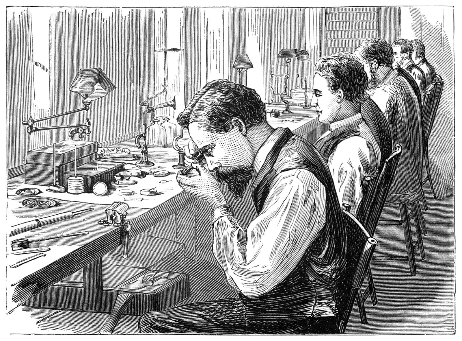 An illustration of a man looking at a watch being built
