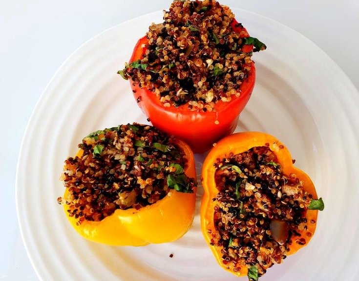 Quinoa stuffed peppers with mushroom and spinach