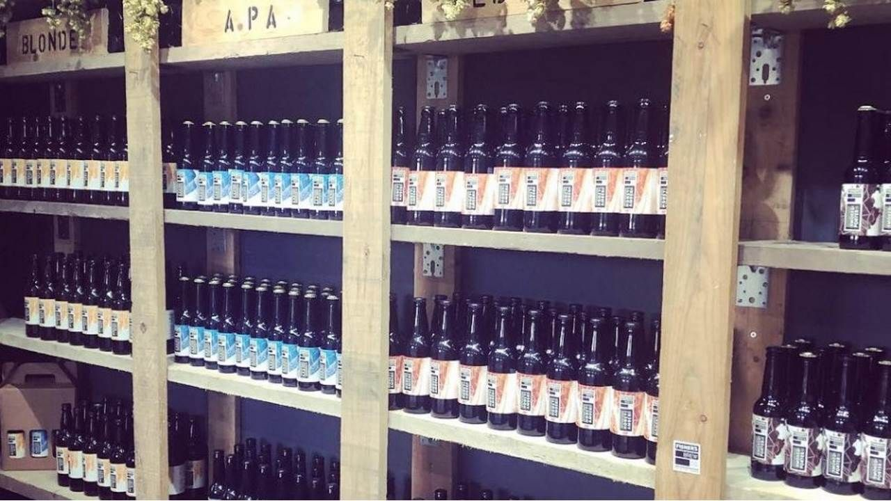 Shelves in the Fisher's brewery shop