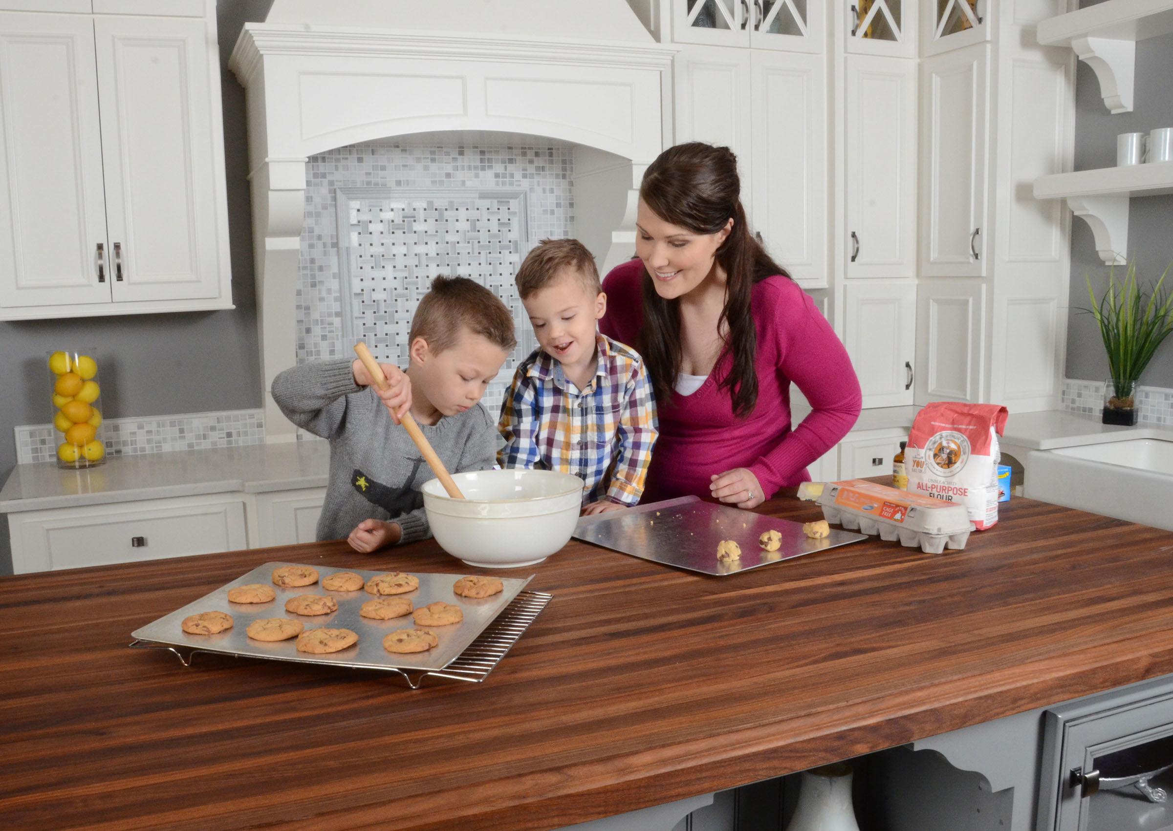 Portrait of family baking