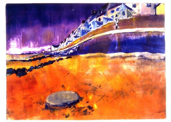 vibrant bold monoprint of beach and sea wall