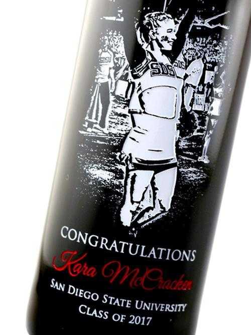 Photo etched on wine bottle