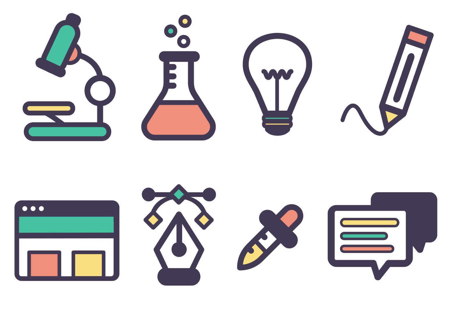 Illustrations of icons representing various design tasks