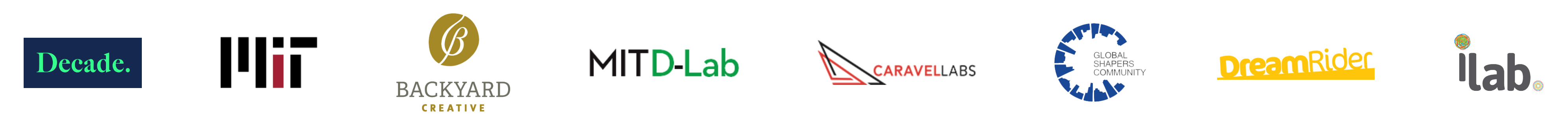 client logos like decade impact, mit, backyard creative, caravel labs, global shapers, dreamrider productions, and ilab