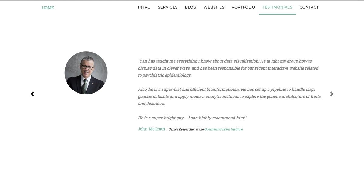 A screengrab showing a testimonial on data scientist Yan Holtz's website