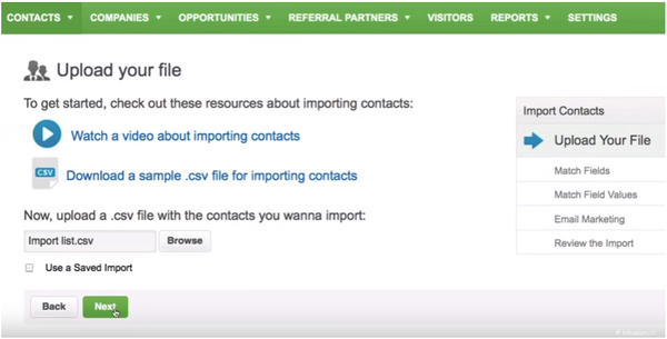 Upload your Contacts File