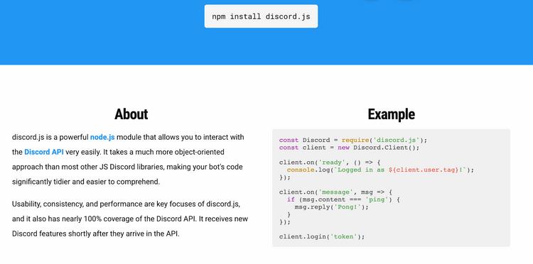 Screenshot of Discord.js's website
