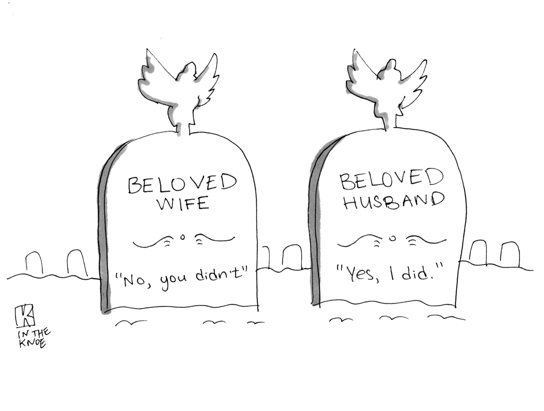 (Two tombstones read: 'Beloved Wife,' 'Beloved Husband.')