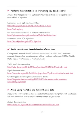 Ruby Security Checklist page 3