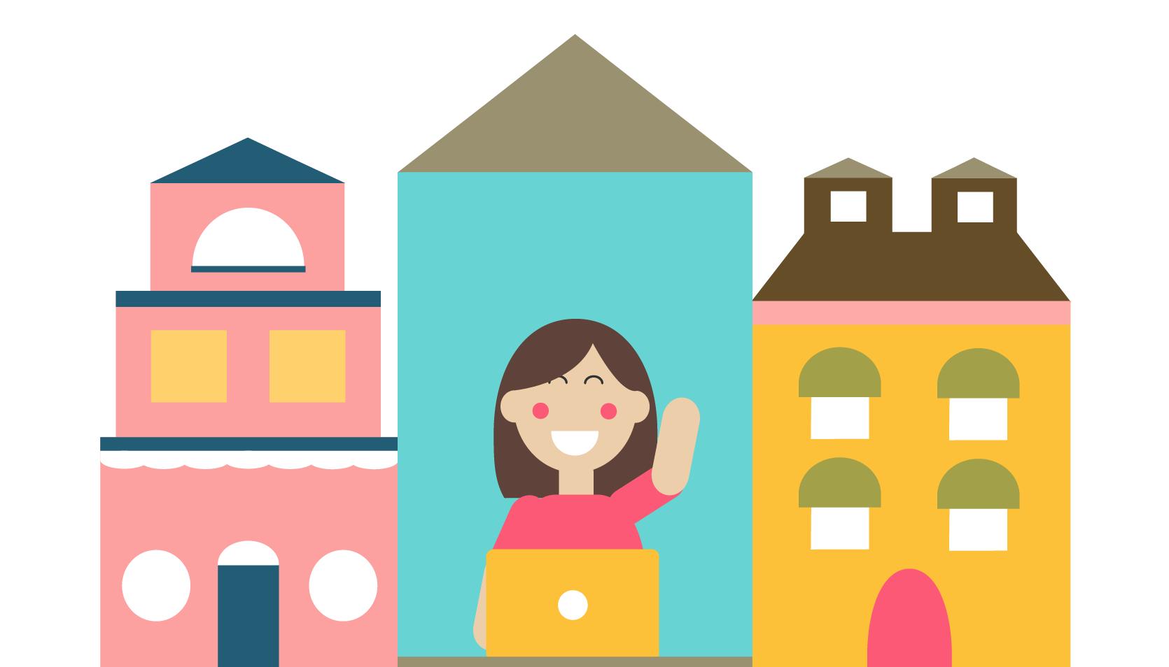 Illustration of Tuts Town designer waving goodbye from her desk
