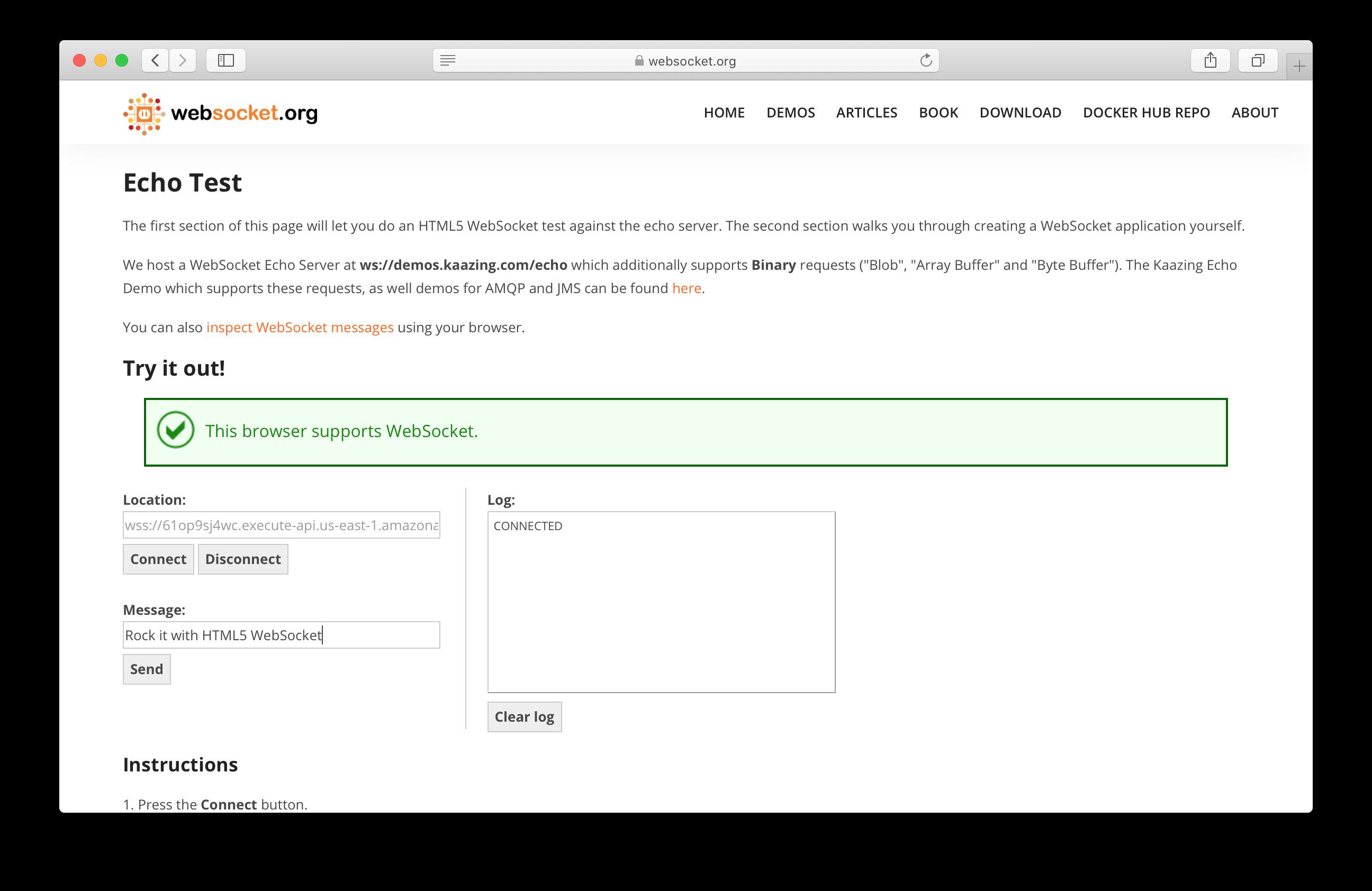 Connect to serverless WebSocket API again