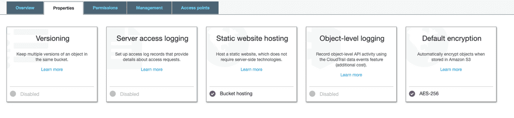 'Screenshot of S3 properties screen with static website hosting enabled'