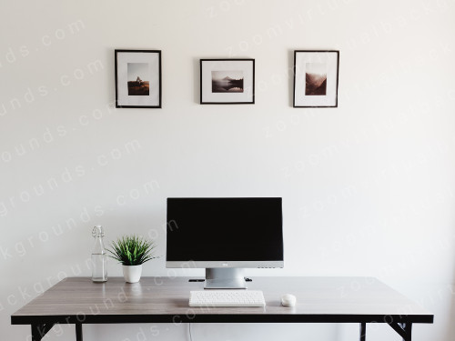 Minimalist Private Office Virtual Background for Zoom with computer monitor on desk