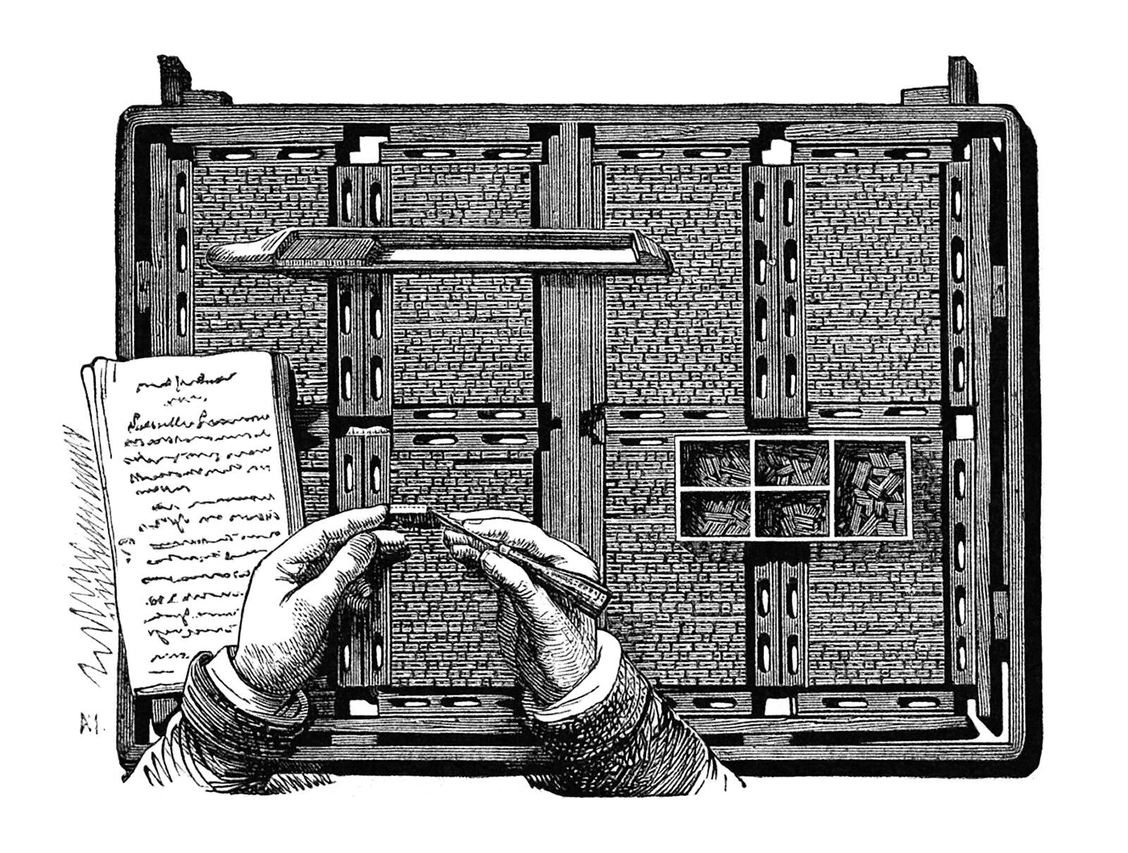 A person setting metal type