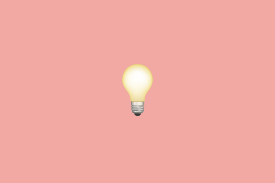 Lightbulb emoji on a pink background