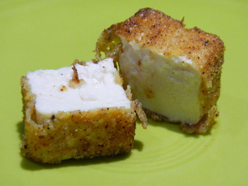 Closeup of Fried Soft Tofu