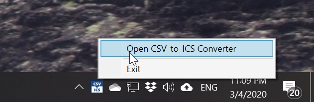The CSV-to-ICS Converter tool can be minimized to the Notification Area. Double-click the icon to re-open the CSV-to-ICS Converter window.